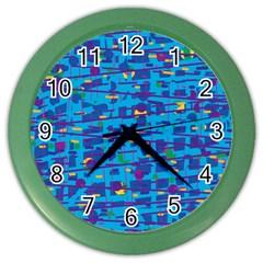 Blue decorative art Color Wall Clocks