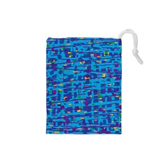 Blue decorative art Drawstring Pouches (Small)