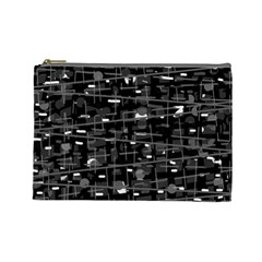 Simple gray Cosmetic Bag (Large)