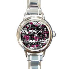 Magenta, white and gray decor Round Italian Charm Watch