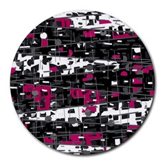 Magenta, white and gray decor Round Mousepads