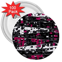 Magenta, white and gray decor 3  Buttons (100 pack)