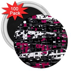 Magenta, white and gray decor 3  Magnets (100 pack)