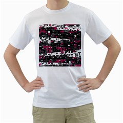 Magenta, white and gray decor Men s T-Shirt (White) (Two Sided)