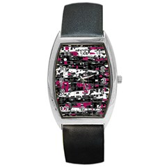 Magenta, white and gray decor Barrel Style Metal Watch