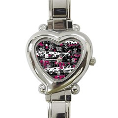 Magenta, white and gray decor Heart Italian Charm Watch