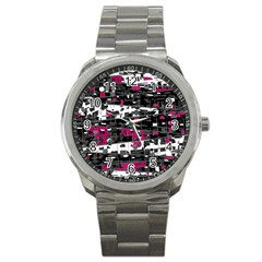 Magenta, white and gray decor Sport Metal Watch