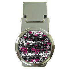 Magenta, white and gray decor Money Clip Watches