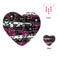 Magenta, white and gray decor Playing Cards (Heart)