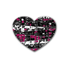 Magenta, white and gray decor Rubber Coaster (Heart)
