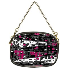 Magenta, white and gray decor Chain Purses (One Side)