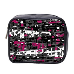 Magenta, white and gray decor Mini Toiletries Bag 2-Side
