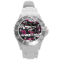 Magenta, white and gray decor Round Plastic Sport Watch (L)