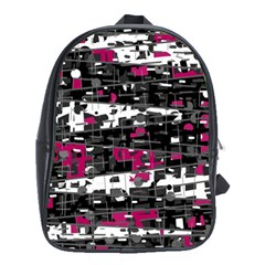 Magenta, white and gray decor School Bags (XL)
