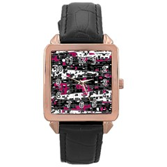 Magenta, white and gray decor Rose Gold Leather Watch