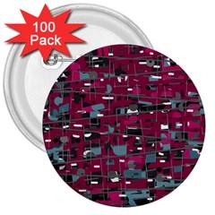 Magenta decorative design 3  Buttons (100 pack)