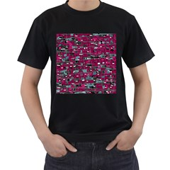 Magenta decorative design Men s T-Shirt (Black) (Two Sided)