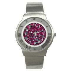 Magenta decorative design Stainless Steel Watch