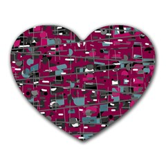 Magenta decorative design Heart Mousepads