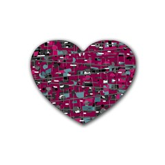 Magenta decorative design Rubber Coaster (Heart)