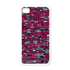 Magenta decorative design Apple iPhone 4 Case (White)