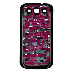 Magenta decorative design Samsung Galaxy S3 Back Case (Black)