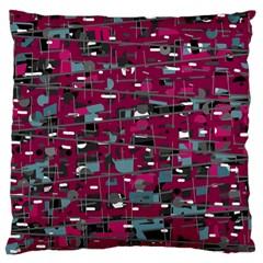Magenta decorative design Large Flano Cushion Case (One Side)