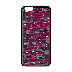 Magenta decorative design Apple iPhone 6/6S Black Enamel Case