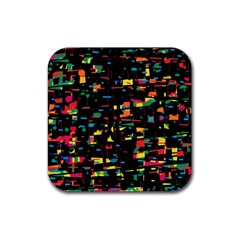 Playful colorful design Rubber Coaster (Square)