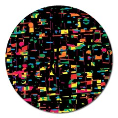 Playful colorful design Magnet 5  (Round)