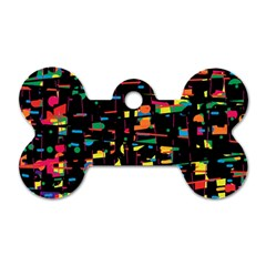 Playful colorful design Dog Tag Bone (One Side)