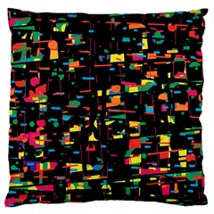 Playful colorful design Large Flano Cushion Case (One Side)
