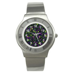 Purple and yellow decor Stainless Steel Watch