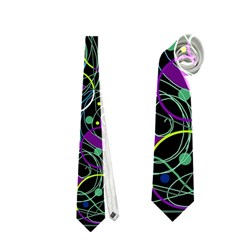 Purple and yellow decor Neckties (One Side)