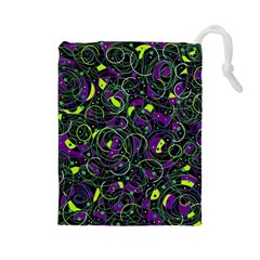 Purple and yellow decor Drawstring Pouches (Large)