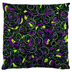 Purple and yellow decor Large Flano Cushion Case (One Side)