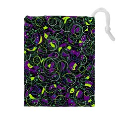 Purple and yellow decor Drawstring Pouches (Extra Large)