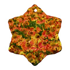 Helenium Flowers And Bees Snowflake Ornament (2 Side)