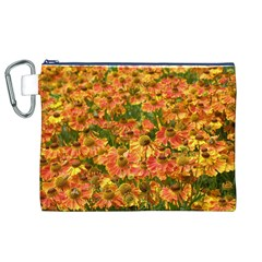 Helenium Flowers and Bees Canvas Cosmetic Bag (XL)