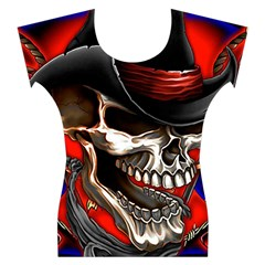 Confederate Flag Usa America United States Csa Civil War Rebel Dixie Military Poster Skull Women s Cap Sleeve Top