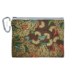 Colorful The Beautiful Of Art Indonesian Batik Pattern Canvas Cosmetic Bag (L)