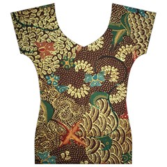 Colorful The Beautiful Of Art Indonesian Batik Pattern Women s V-Neck Cap Sleeve Top