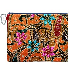Colorful The Beautiful Of Art Indonesian Batik Pattern  Canvas Cosmetic Bag (XXXL)
