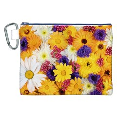 Colorful Flowers Pattern Canvas Cosmetic Bag (XXL)
