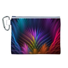 Colored Rays Symmetry Feather Art Canvas Cosmetic Bag (L)