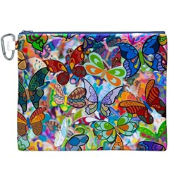 Color Butterfly Texture Canvas Cosmetic Bag (XXXL)