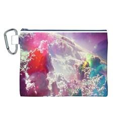 Clouds Multicolor Fantasy Art Skies Canvas Cosmetic Bag (L)