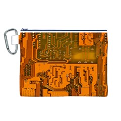 Circuit Board Pattern Canvas Cosmetic Bag (L)