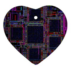 Cad Technology Circuit Board Layout Pattern Ornament (Heart)