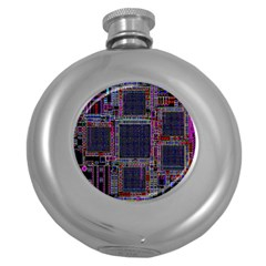 Cad Technology Circuit Board Layout Pattern Round Hip Flask (5 oz)